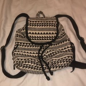 Black and white patterned mini backpack
